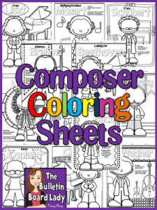 composer coloring pages - bulletin boards for the music classroom